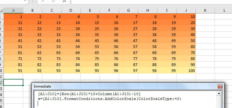 An excel spreadsheet showing the numbers 1 to 100 in a 10x10 grid with the colours fading from red to yellow.