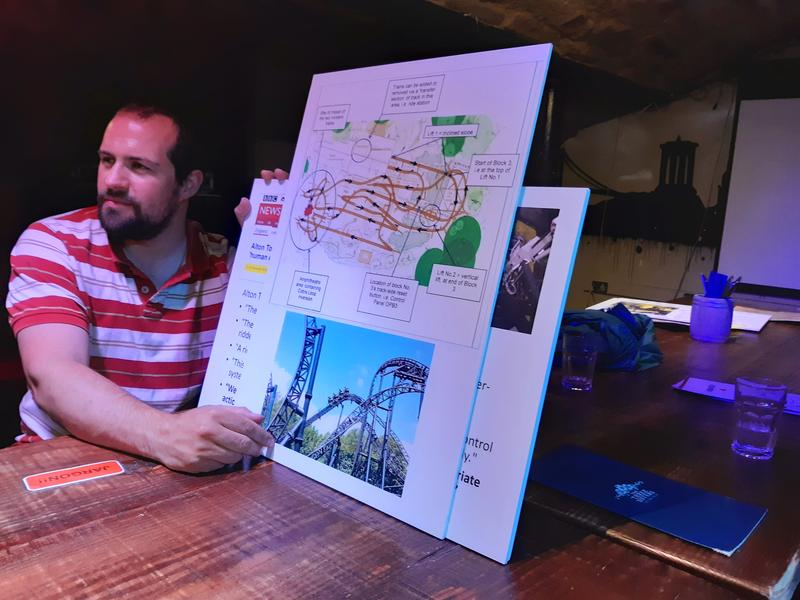 Man holding a couple of boards with images of a rollercoaster on them.